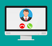 Incoming video call on computer. Photo of man, decline and accept buttons on notebook screen. Online meeting, videocall, webinar or training. Vector illustration in flat style