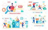 Financial Audit Flat Cartoon Banner Vector Illustration. Independent Auditor Holding Document Papers. Teamwork, Efficiency, High Standarts. Male Character with Telescope. Safe. Doing Research.