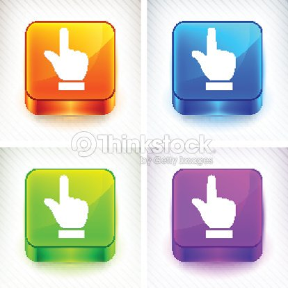 Index Finger Pointing On Color Square Buttons stock vector