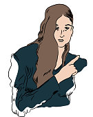 illustration of beautiful woman pointing index finger.