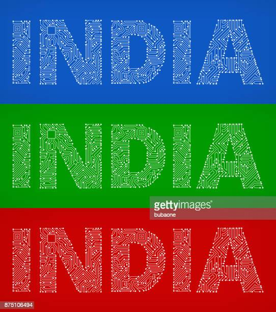 India Circuit Board Color Vector Backgrounds