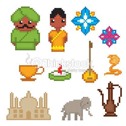 India Culture Symbols Icons Set Pixel Art Old School Computer Vector