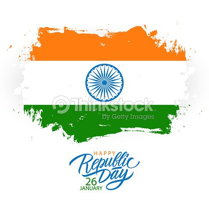 India happy republic day greeting card with handwritten holiday india happy republic day greeting card with handwritten holiday greetings and brush stroke in colors of m4hsunfo
