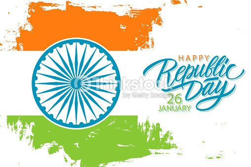 India happy republic day january 26 celebrate banner with hand drawn india happy republic day january 26 celebrate banner with hand drawn lettering holiday greetings and m4hsunfo