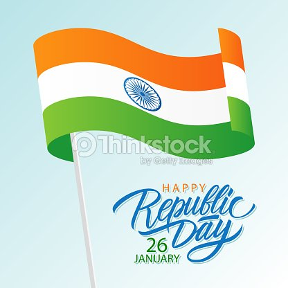 India happy republic day january 26 greeting card with waving indian india happy republic day january 26 greeting card with waving indian national flag and hand m4hsunfo