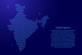 India map abstract schematic from blue ones and zeros binary digital code with space stars for banner, poster, greeting card. Vector illustration.