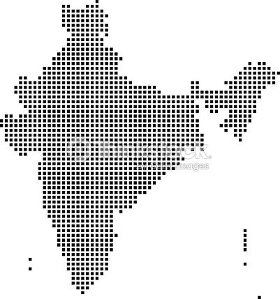 India Map Dots Dotted India Map Vector Outline Highly Detailed ...