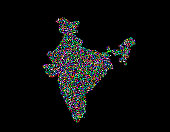 India map. Isolated on black background. Vector illustration. Pointillism style.
