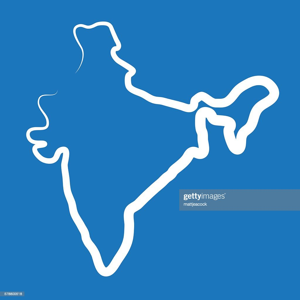 india outline map made from a single line vector art getty images