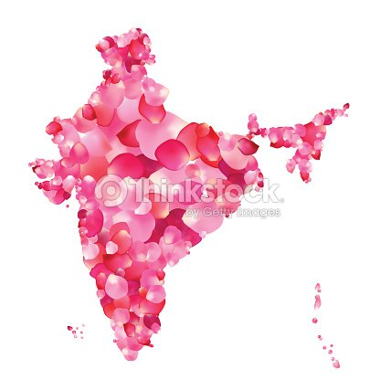India Silhouette Of Indian Peninsula Map Of Rose Petals stock vector on