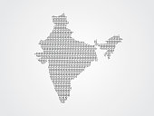 India vector map illustration using binary codes on white background to mean advancement of technology