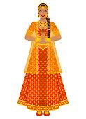 Indian bride in wedding red lehenga dress. vector illustration - eps 10