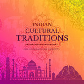 Indian country ornament illustration concept. Art traditional, abstract, ottoman motifs, element. Vector decorative ethnic greeting card or invitation design background