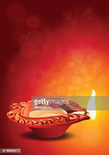 Indian Festival Diwali - Diya Clay Lamp Vector Illustration : Vector Art