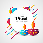 Indian festival of lights, Diwali celebration greeting card design with lit lamps and abstract elements decorated on white background.