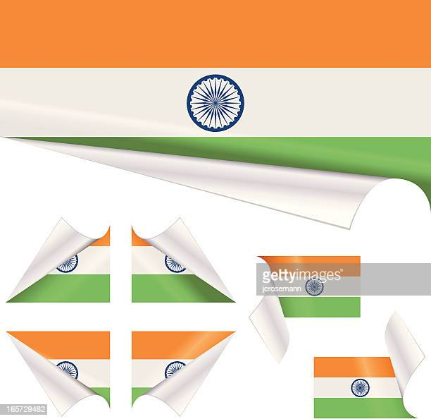 Indian Flags behind Curled Paper