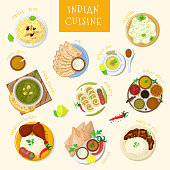 Indian food vector India cuisine and asian dishes masala with spicy rice and tandoori chicken illustration set of meal naan in bowl in Asia isolated on white background.