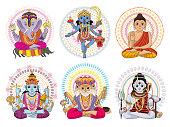Indian god vector hinduism godhead of goddess and godlike idol Ganesha in India illustration set of asian godly religion isolated on white background.