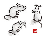 "Indian ink brush painting mouse and rat illustration with red seal with Chinese zodiac symbol ""year of the rat"""