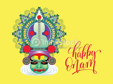 Indian Kathakali Dancer Face Decorative Modern Vector Illustrati
