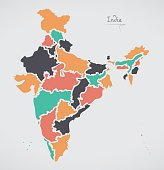 Indian Map with regions and modern round shapes