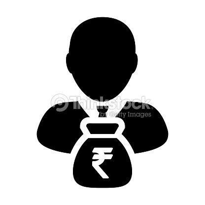 Indische Rupiesymbol Symbol Vektor Person Männlichen Zeichen Avatar