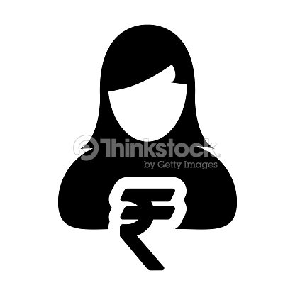 Indian Rupee Symbol Sign Icon Vector With Female Person Avatar In