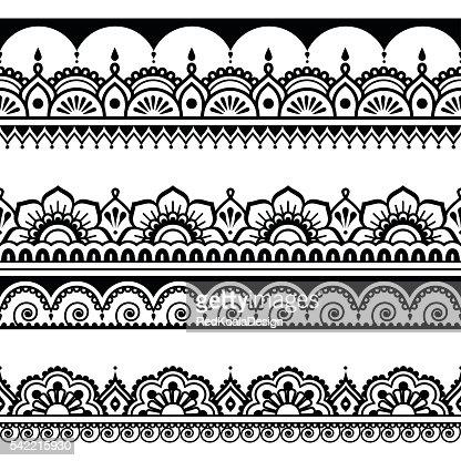 Indian seamless pattern, design elements - Mehndi tattoo style : Vector Art
