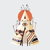 Vector illustration of Indian house Tepees (also known as Wigwam)