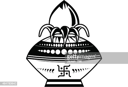 Indian wedding kalash line art black and white illustration vector art