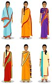 Indian woman. Detailed illustration of different standing indian young adult women in the traditional national indian clothing isolated on white background in flat style.