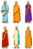 Indian woman. Detailed illustration of different standing indian old women in the traditional national indian clothing isolated on white background in flat style.
