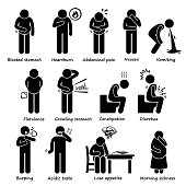 A set of human pictogram representing indigestion symptom and problems. These medical problem can be caused by IBS (irritable bowel syndrome), pregnancy (morning sickness), or food poisoning.