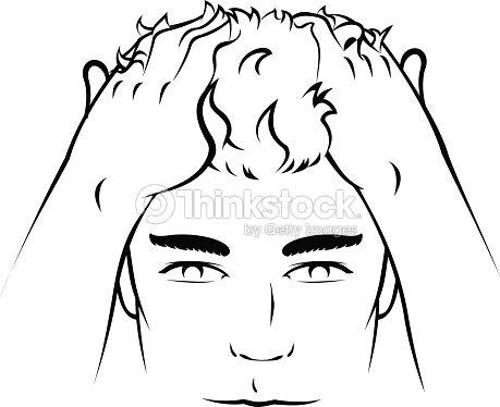 Individual Male Hair Dye Treatment And Dandruff Vector Art