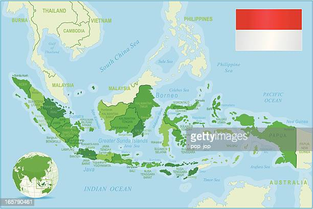 Indonesia map green highly detailed