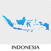 Indonesia map in Asia continent illustration design
