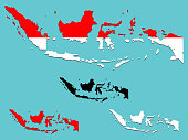 Indonesia map with national flag decoration