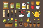 Vector set of indoor gardening icons: gardening tools, packages of soil, fertilizers, seeds, flowerpots, planting and growing process, care instruction symbols. Flat style.