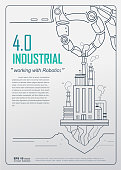 Industrial 4.0 with Robot concept, Robotic hand holding factory company and working in industry. vector design for poster, Annual report, book cover template.