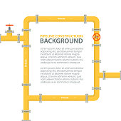 Industrial background with yellow pipeline. Pipes in shape frame for text. Oil, water or gas pipeline with fittings and valves. Vector illustration.