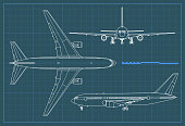 Industrial blueprint of airplane. Vector outline drawing plane on a blue background. Top, side and front view