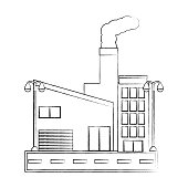 industrial building with smoke coming out of the boilers over white background vector illustration