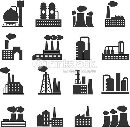 Industrial factory and plant buildings vector icons set : stock vector