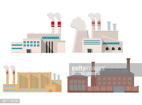 Industrial factory in flat style a vector an illustration.Plant or Factory Building.road tree window facade.Manufacturing factory building. industrial building concept. : Arte vettoriale