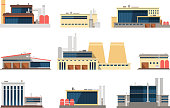 Industrial factory, power plant and warehouse buildings. Industrial construction vector flat icons. Factory and plant, warehouse and refinery building illustration