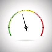 Industrial gauge colored scale. Vector illustration