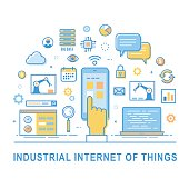 Industrial internet of things. Industry 4.0. Vector concept illustration with thin line icon set.