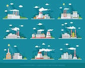 Industrial landscape set. The nuclear power plant and factory on the background of the city.Vector flat illustration