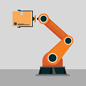 Industrial mechanical robotic arm. Vector Illustration