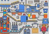 Industrial processes. mechanism of potato chip production machine. vector illustration.